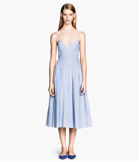 Cotton Dress S M 30285 lyst h m cotton dress in blue