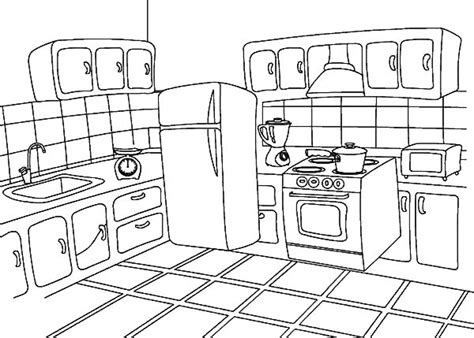 coloring page of a kitchen kitchen coloring page t8ls com