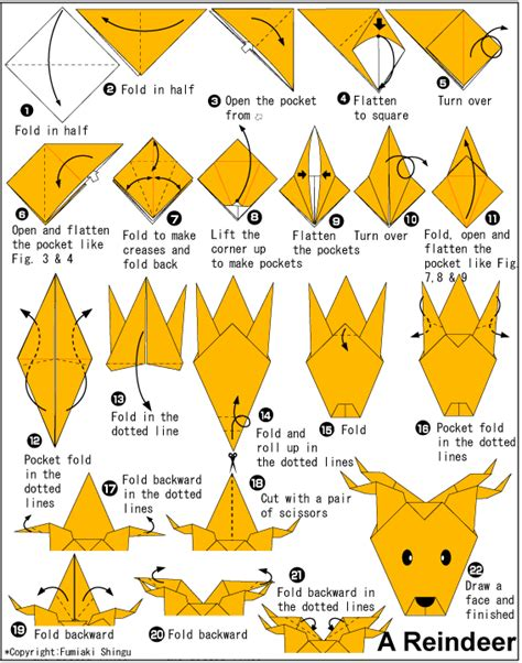 How To Make A Paper Deer - origami reindeer no 235 l 2 renne p 232 re no 235 l