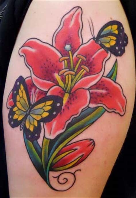 butterfly and lily tattoo designs stargazer tattoos on stargazer