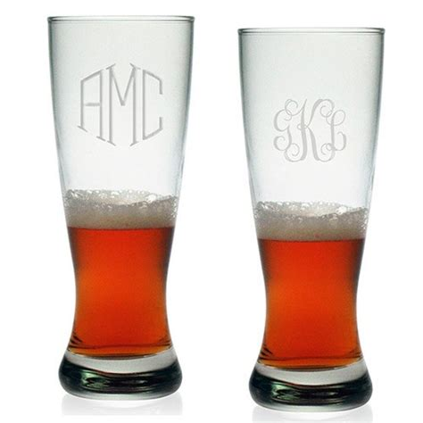 monogrammed barware glasses susquehanna grand pilsner glasses monogram set of 4