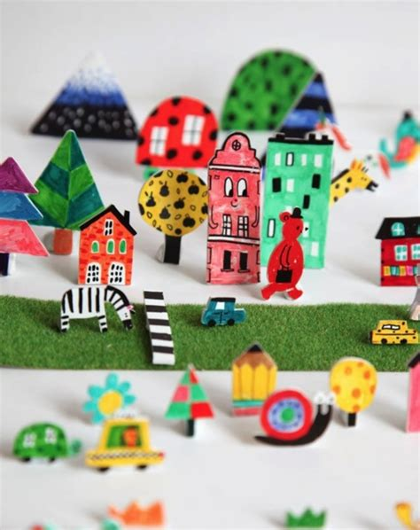 Paper Craft City - idea let draw color and cut 3d paper city