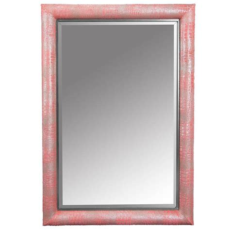 pattern mirror frame contemporary croc pattern watermelon pink dyed cowhide