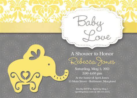 elephant theme baby shower invitation grey and yellow