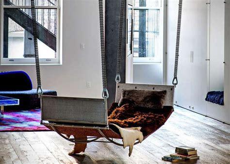 indoor floating bed hammock interior design ideas warrior style hammocks fur blankets