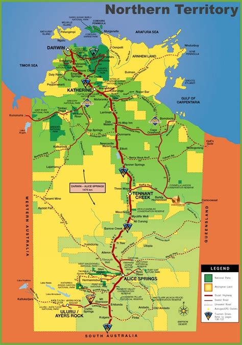 map of australia with territories northern territory tourist map