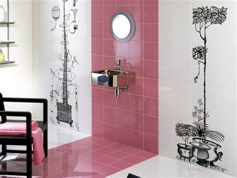 Retro Pink Bathroom Ideas colorful ceramic tiles with happy motifs decorate the
