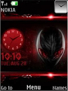 themes clock red download red alien clock s40 theme nokia theme mobile toones
