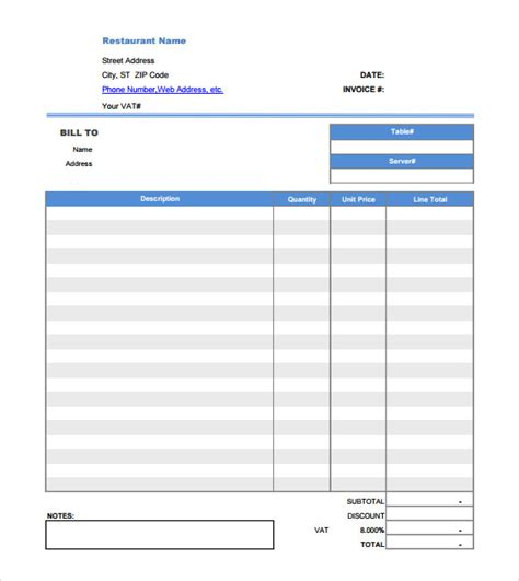 Free 8 Restaurant Receipt Templates In Free Samples
