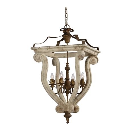 Large Metal Chandelier Large Wood And Metal Aged Cottage White With Rust Metal Chandelier The Bay