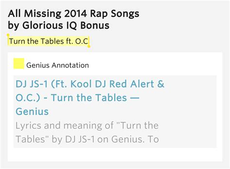 Turning Tables Meaning by Turn The Tables Ft O C All Missing 2014 Rap Songs