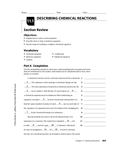 11 1 describing chemical reactions section review answers chemical reaction worksheet lesupercoin printables worksheets