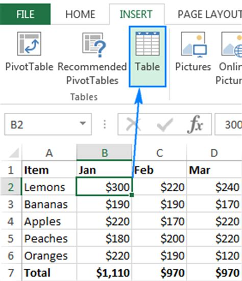 excel table how to create use format and remove