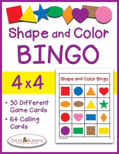 printable game board shapes shapes and colors bingo game cards 4x4 sallieborrink com