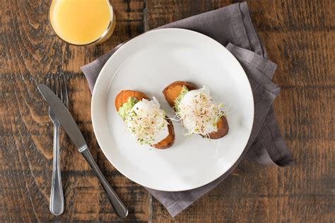 How To Cook A Sweet Potato In The Toaster Oven Sweet Potato Toast With Poached Eggs Incredible Egg