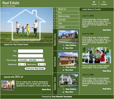 Real Estate Template Free Website Templates One Page Real Estate Website Templates