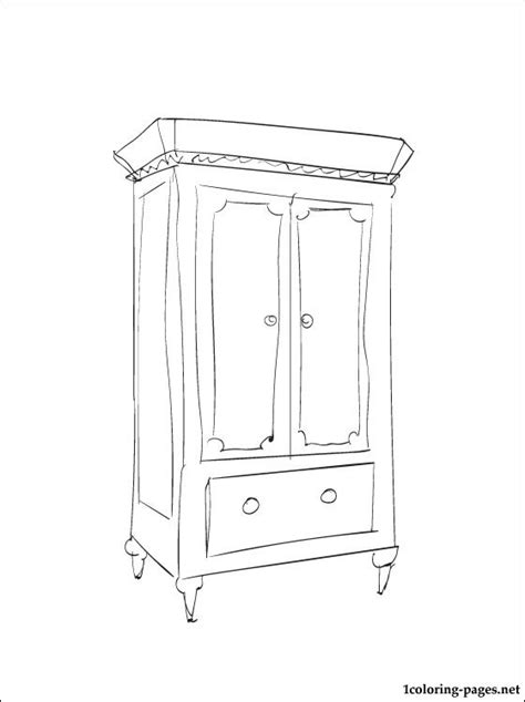 coloring page of a dresser armoire coloring page coloring pages