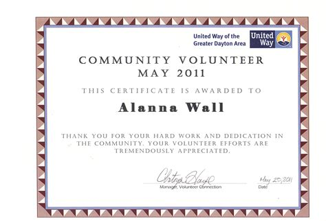 28 volunteer of the month certificate template