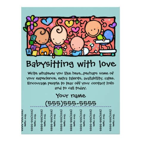 templates for daycare flyers littlegirlie child care custom tear sheet flyer zazzle