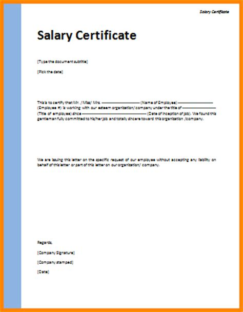 certification letter sle template salary certificate application letter sle certification