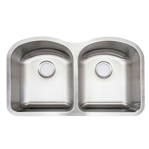 Glacier Bay Undermount Stainless Steel 32 In Double Bowl Glacier Bay Kitchen Sink