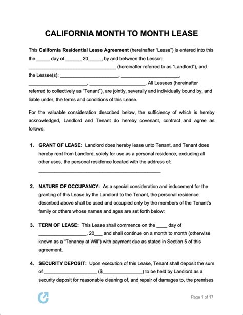 california month  month lease agreement