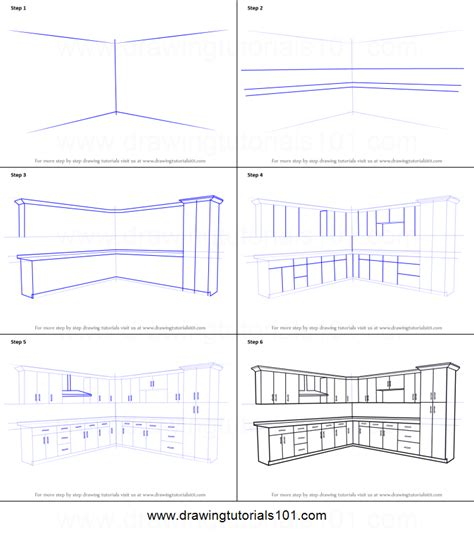 draw kitchen cabinets how to draw kitchen cabinets printable step by step