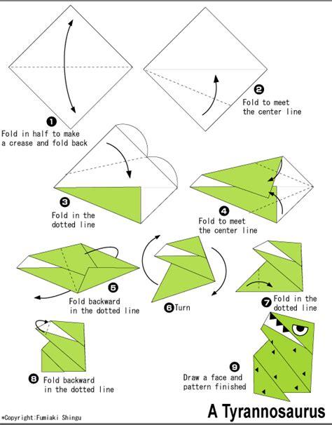 Simple Origami Dinosaur - origami tyrannosaurus