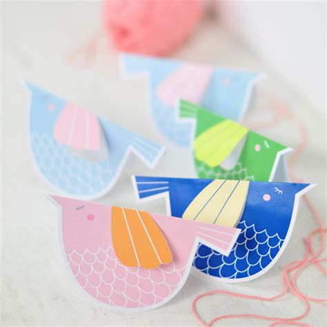How To Make Bird Using Paper - printable paper bird mobile family crafts
