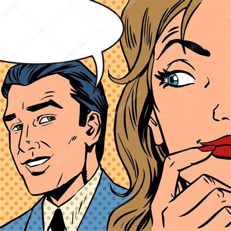 retro drawing man calls woman retro style comic pop art vintage stock