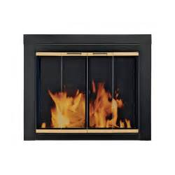 pleasant hearth arrington fireplace glass door for