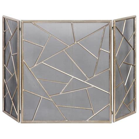 marco global bazaar silver leaf iron fireplace screen