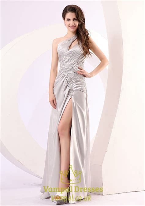 One Shoulder Prom Dress With Cutout Sides,Silver One