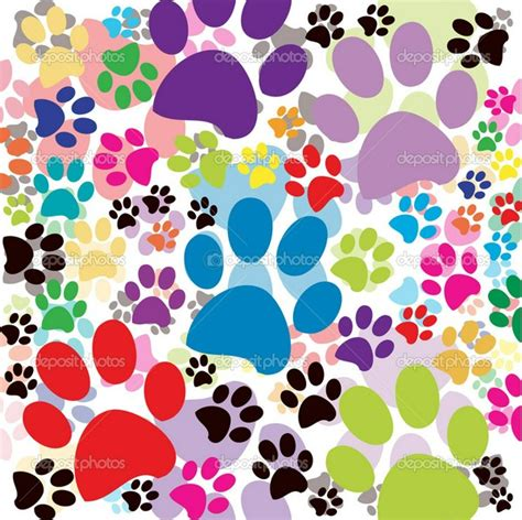 Colorful Paw Print Background Background Colored Paws Colorful Prints