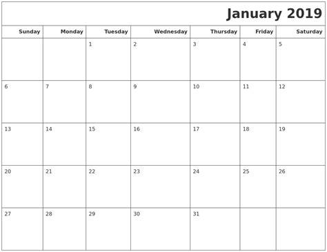 printable calendar january 2019 january 2019 calendars to print