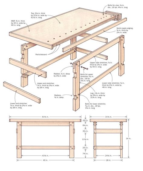 school bench dimensions workbench woodwork pinterest madeira woodworking