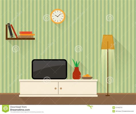 Living Room Flat Design Vector Living Room With Tv Stock Vector Image 57442701