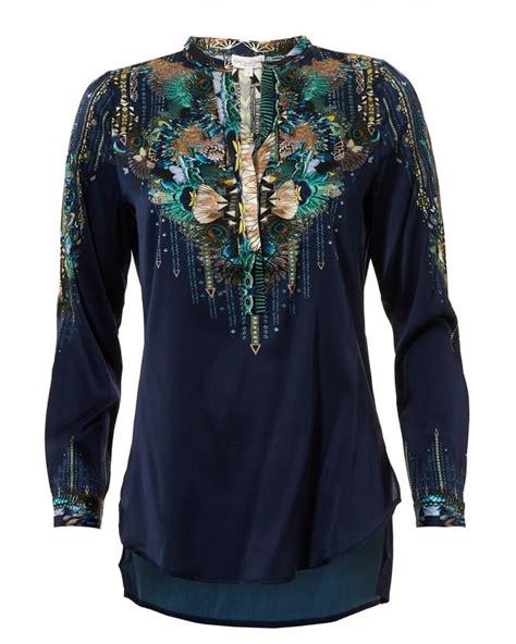 Blouse Dea dea kudibal womens saselina blouse navy peacock print silk top