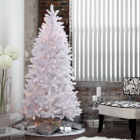 white pre lit tree white tree pre lit 7 5 ft artificial clear lights stand new artificial