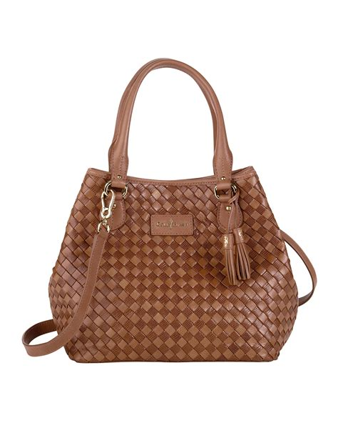 Pda Shoper Hanging Mix Brown lyst cole haan nora woven serena tote bag brown in brown