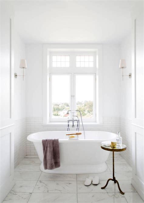 White Marble Subway Tile Bathroom by White Bathroom With Subway Tile And Marble Tile Decoist