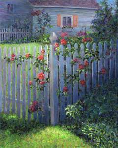 Large Murals For Walls clematis on a picket fence painting by susan savad