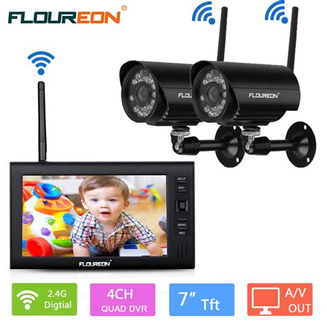 Kamera Cctv Outdoor Wireless floureon digital wireless outdoor 2 cctv kamera system 7 quot lcd baby monitor dvr ebay