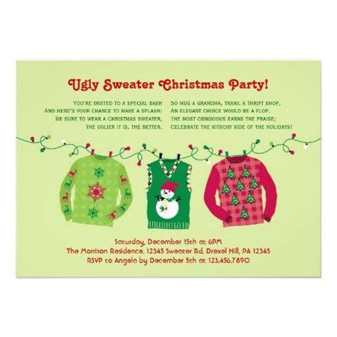 ugly christmas party ideas rewards 17 best images about tacky sweater invitations on and