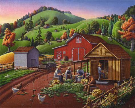 folk americana farmers shucking harvesting corn farm landscape autumn rural country