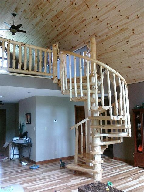 keystone custom homes offers easy steps to building a new rustic log spiral staircases stairways priced per step