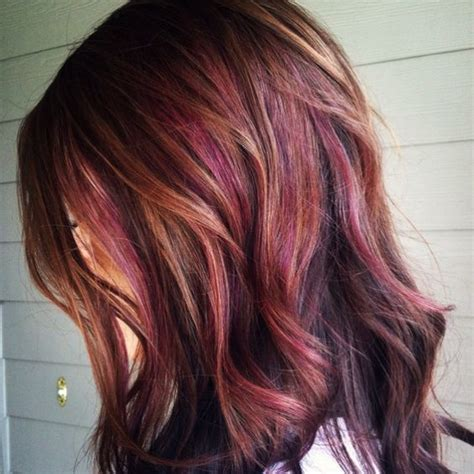 burgandy caramel and brown highlights chestnut brown with caramel and subtle reddish plum