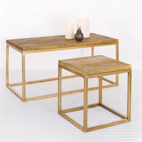 Away Wood Top And Gold Leaf Coffee Table