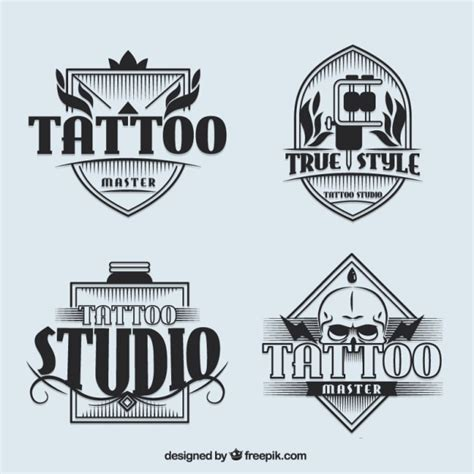 logo tattoo estudio set of tattoo studio logotypes in vintage style vector
