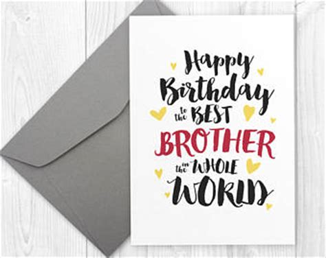 free printable birthday cards brother brother bday etsy